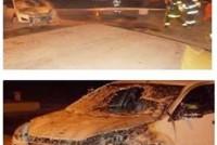 Leones: incendio de automóvil