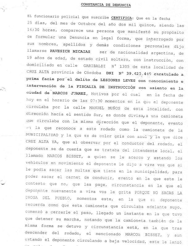 El intendente de Cruz Alta, Marcos Bizet acusado de agresión a un ...