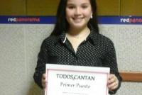 Sofía Arburúa de 10 años fue ganadora del certamen Todos Cantan
