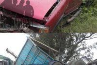 Choque entre pick up y camión en Alejo Ledesma, donde el conductor de la camioneta escapó
