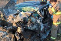 Choque frontal entre dos autos en la ruta A012 con una mujer fallecida y otra en grave estado