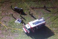 Automovilista que circulaba por calle Belgrano, cruzó la circunvalación, realizó tumbos y terminó su recorrido en el interior de un campo