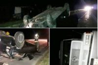 Leones, vuelco de un automóvil y un camión en autopista