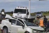 Despiste y vuelco de un automóvil en autopista en Monte Leña con una persona fallecida