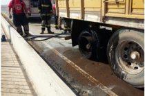 Incendio en los neumáticos de un camión en autopista