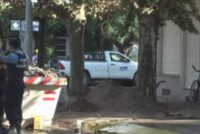 Rotura de caño de gas e incendio en calle Sáenz Peña al 800