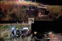 Despiste de un automóvil en ruta 12 camino a Saira  por cereal esparcido en calzada