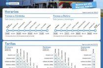Tren de pasajeros, días, horarios y tarifas